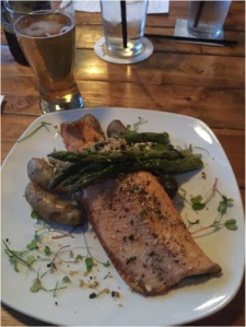 Steelhead Trout with baby 'dilled taters' and asparagus.
